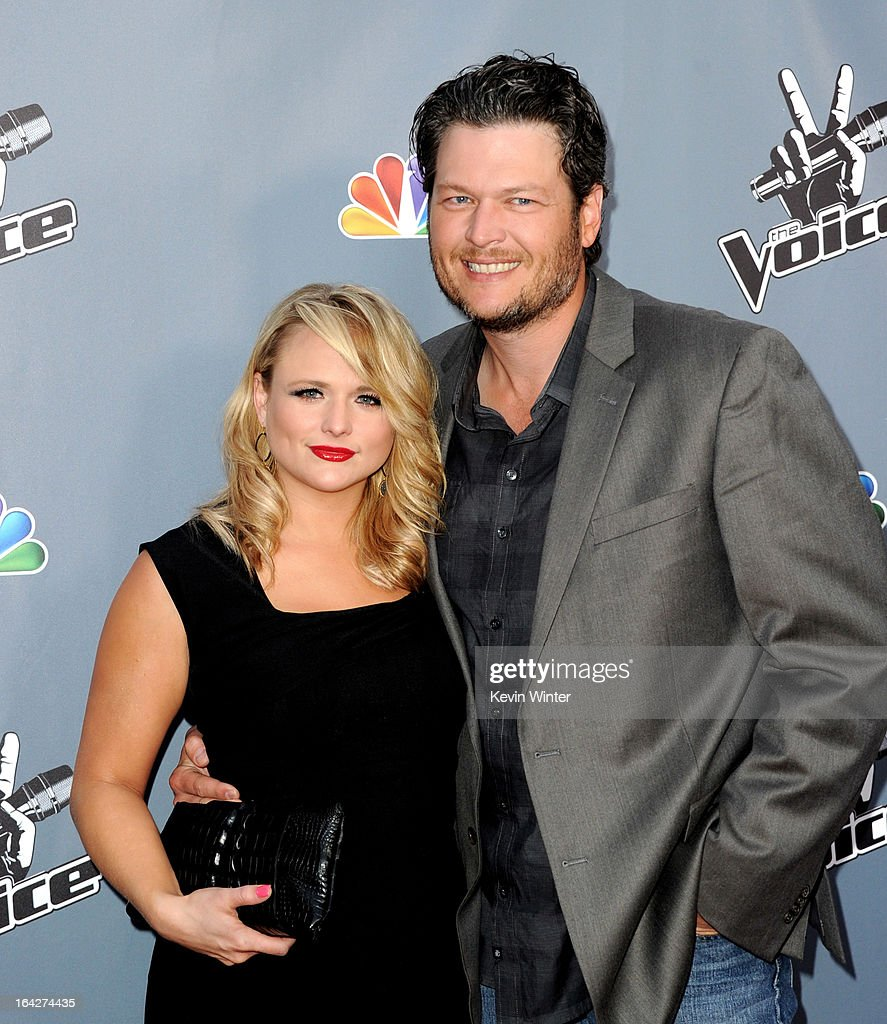 Singers <a gi-track='captionPersonalityLinkClicked' href=/galleries/search?phrase=Miranda+Lambert&family=editorial&specificpeople=571972 ng-click='$event.stopPropagation()'>Miranda Lambert</a> (L) and her husband <a gi-track='captionPersonalityLinkClicked' href=/galleries/search?phrase=Blake+Shelton&family=editorial&specificpeople=2352026 ng-click='$event.stopPropagation()'>Blake Shelton</a> arrive at a screening of NBC's 'The Voice' Season 4 at the Chinese Theatre on March 20, 2013 in Los Angeles, California.