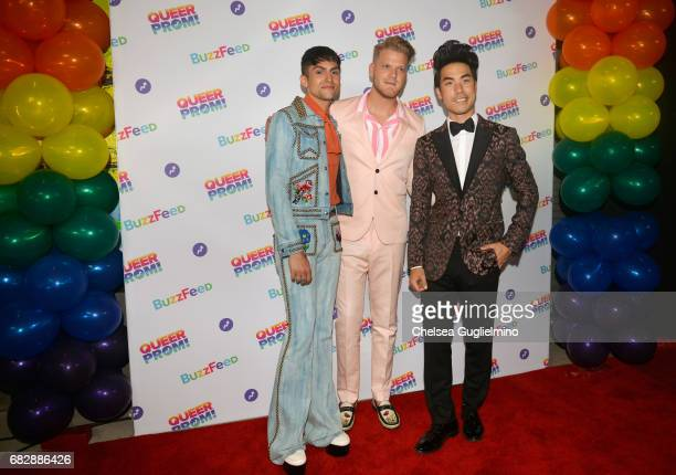 Singers Mitch Grassi and Scott Hoying of Pentatonix and Eugene Lee Yang of BuzzFeed attend Buzzfeed hosts the 1st Inaugural Queer Prom for LGBT Youth...