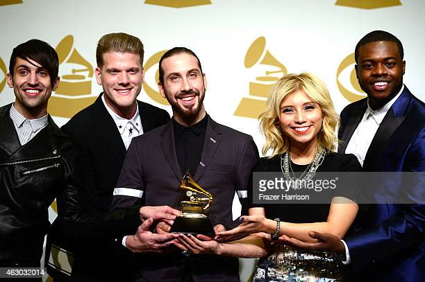 Singers Mitch Grassi Scott Hoying Avi Kaplan Kirstie Maldonado and Kevin Olusola of Pentatonix winners of Best Arrangement Instrumental or a Cappella...