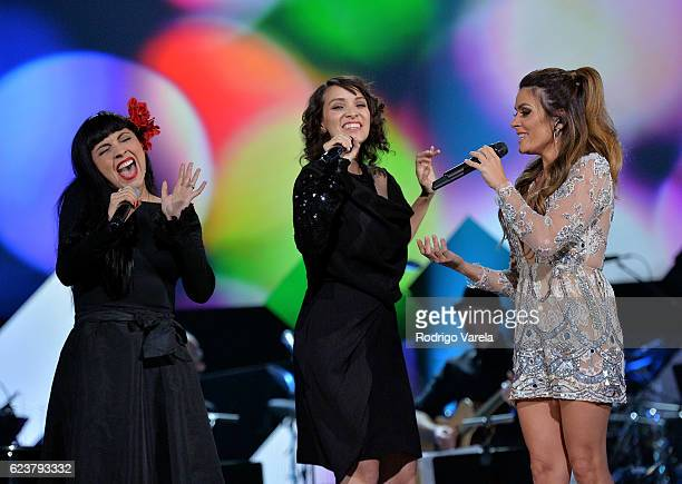 Singers Mon Laferte Gaby Moreno and Kany Garcia perform onstage during the 2016 Person of the Year honoring Marc Anthony at MGM Grand Garden Arena on...