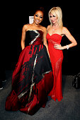 Singers Monica and Debbie Gibson pose backstage at The American Heart Association's Go Red For Women Red Dress Collection 2016 Presented By Macy's at...