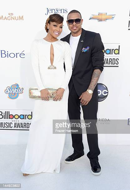 Singers Monica and Shannon Brown arrive at the 2012 Billboard Music Awards held at the MGM Grand Garden Arena on May 20 2012 in Las Vegas Nevada