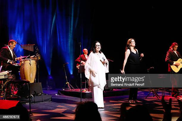 Singers Nana Mouskouri and and her daughter Lenou Petsilas peform at Nana Mouskouri's Happy Birthday Tour Held at 'Theatre du Chatelet' on March 10...