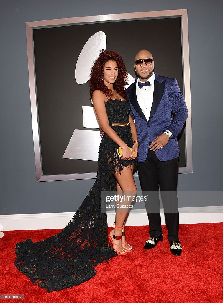 Singers Natalie La Rose (L) and Flo Rida attend the 55th Annual GRAMMY Awards at STAPLES Center on February 10, 2013 in Los Angeles, California.