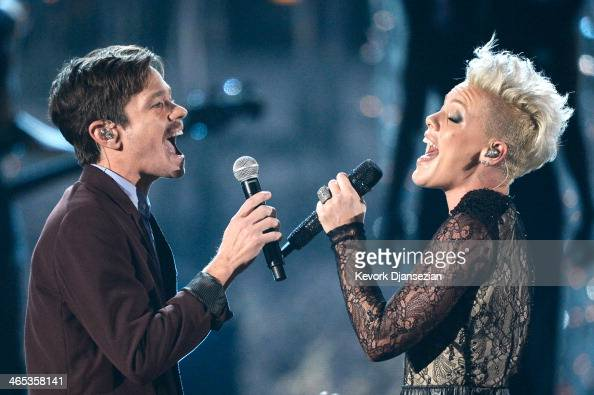 Singers Nate Ruess and Pink perform onstage during the 56th GRAMMY Awards at Staples Center on January 26 2014 in Los Angeles California