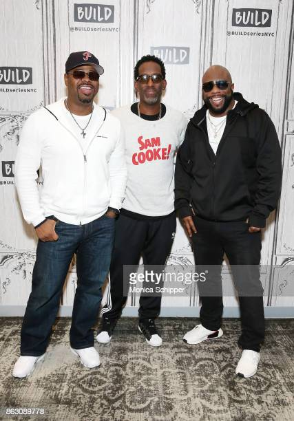 Singers Nathan Morris Shawn Stockman and Wanya Morris of Boyz II Men discuss their album 'Under the Streetlight' at Build Studio on October 19 2017...