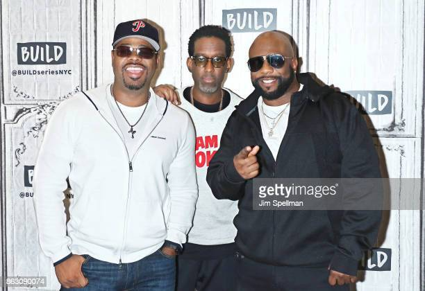 Singers Nathan Morris Shawn Stockman and Wanya Morris of Boyz II Men attend Build to discuss their album 'Under the Streetlight' at Build Studio on...