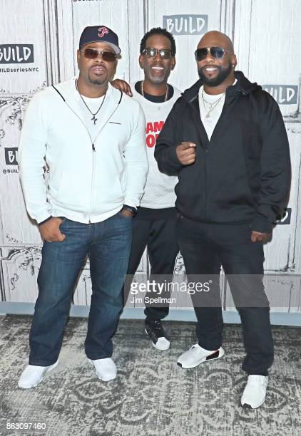 Singers Nathan Morris Wanya Morris and Shawn Stockman of Boyz II Men attend Build to discuss their album 'Under the Streetlight' at Build Studio on...
