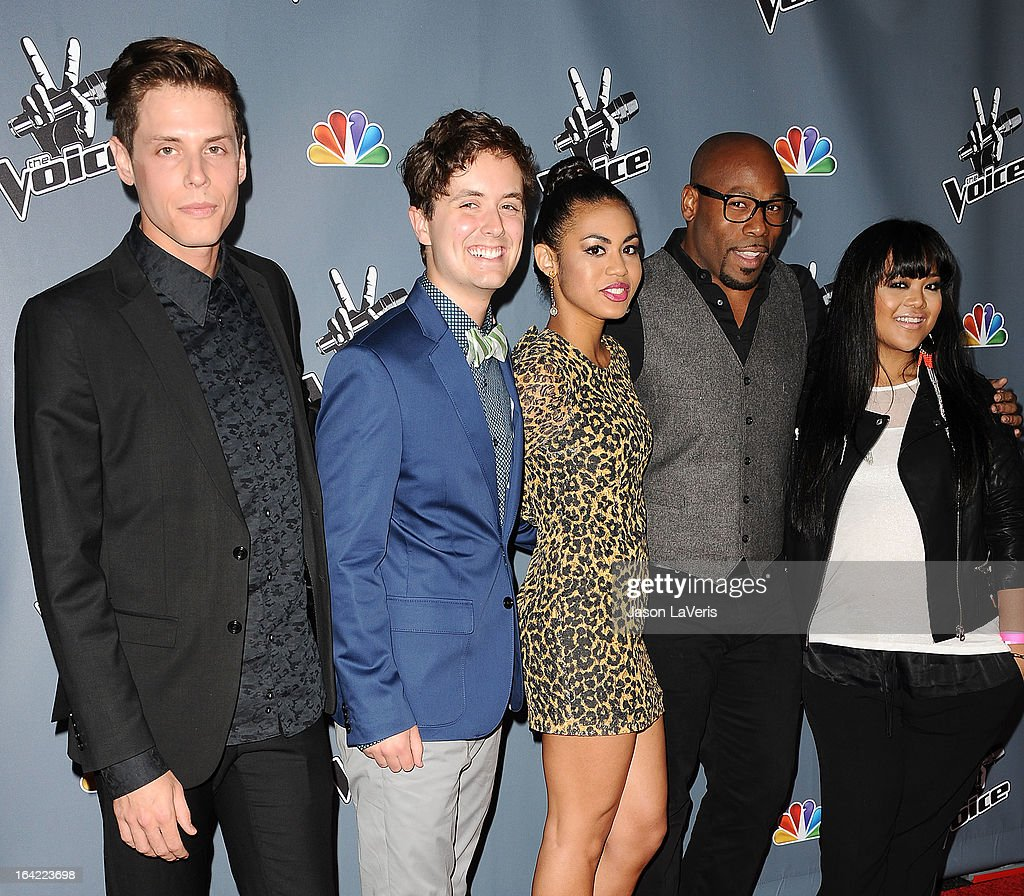 Singers Nathan Parrett, Pip Arnold, Ashley De La Rosa, Anthony Evans and Cheesa Laureta attend NBC's 'The Voice' season 4 premiere at TCL Chinese Theatre on March 20, 2013 in Hollywood, California.