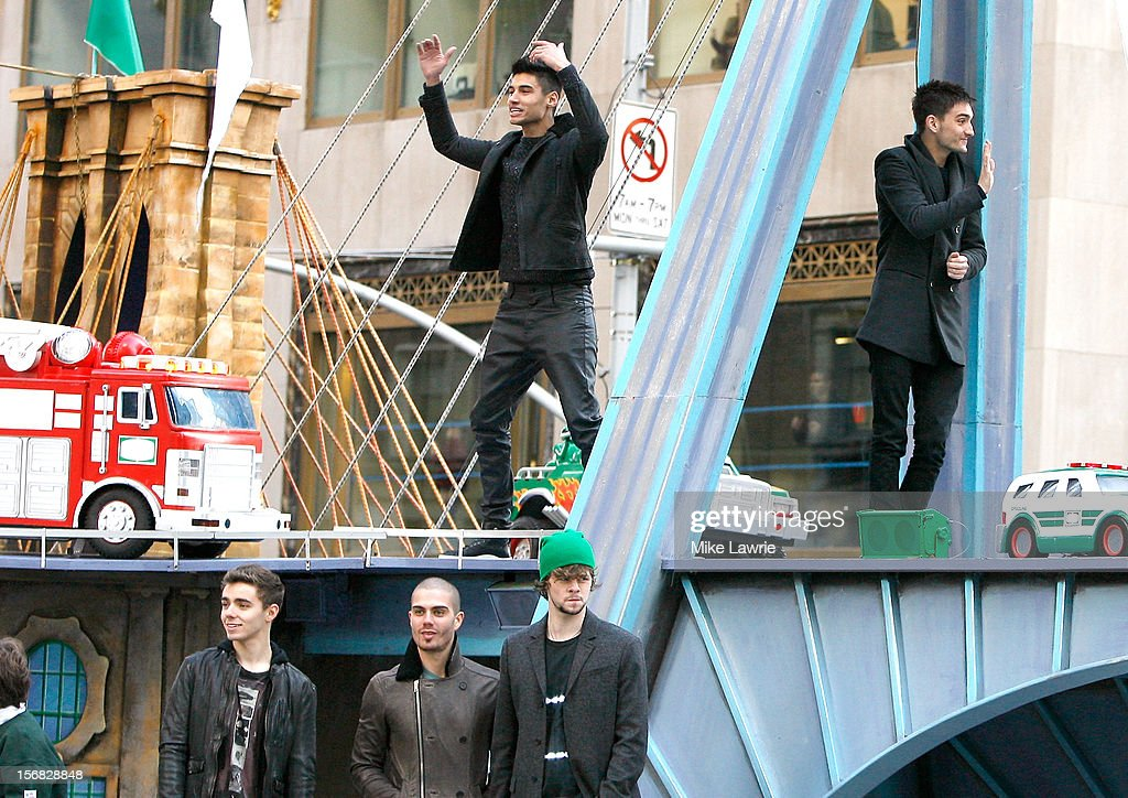 Singers Nathan Sykes, Max George, (back L) Siva Kenswaran, Jay McGuiness and (back R) Tom Parker of The Wanted attend the 86th Annual Macy's Thanksgiving Day Parade on November 22, 2012 in New York City.