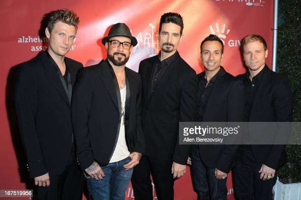 Singers Nick Carter A J McLean Kevin Richardson Howie Dorough and Brian Littrell of the Backstreet Boys arrive at Hilarity For Charity fundraiser...