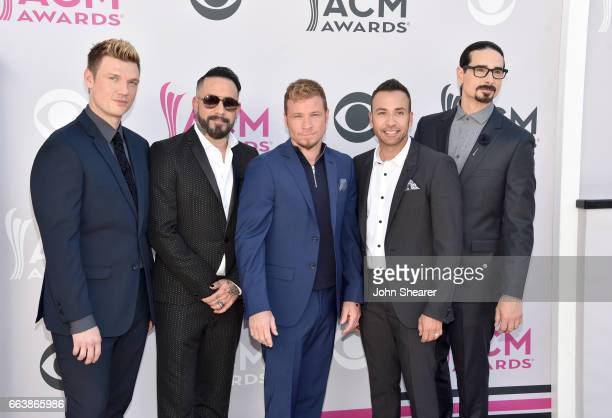 Singers Nick Carter AJ McLean Brian Littrell Howie Dorough and Kevin Richardson of music group Backstreet Boys attend the 52nd Academy Of Country...