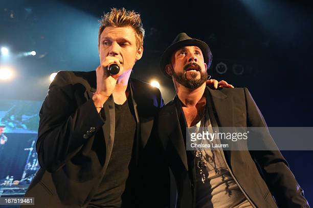 Singers Nick Carter and AJ McLean attend the Second Annual Hilarity For Charity benefiting The Alzheimer's Association at the Avalon on April 25 2013...