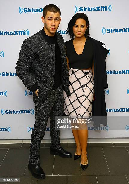 Singers Nick Jonas and Demi Lovato visit the SiriusXM Studios on October 26 2015 in New York City