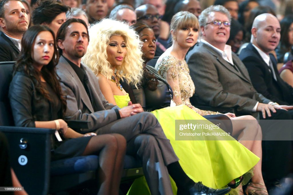 Singers <a gi-track='captionPersonalityLinkClicked' href=/galleries/search?phrase=Nicki+Minaj+-+Artist&family=editorial&specificpeople=6362705 ng-click='$event.stopPropagation()'>Nicki Minaj</a> (3rdL-R) and <a gi-track='captionPersonalityLinkClicked' href=/galleries/search?phrase=Taylor+Swift&family=editorial&specificpeople=619504 ng-click='$event.stopPropagation()'>Taylor Swift</a> at the 40th American Music Awards held at Nokia Theatre L.A. Live on November 18, 2012 in Los Angeles, California.