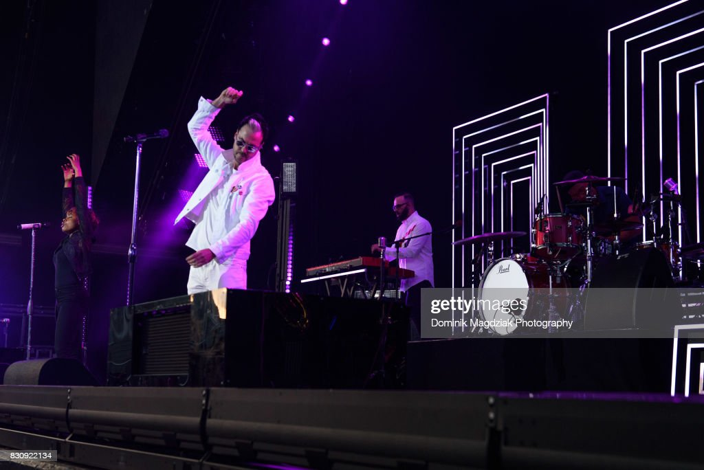 Singers Noelle Scaggs and Michael Fitzpatrick, keyboardist Jeremy Ruzumna and drummer John Wicks of Fitz and The Tantrums perform on stage during the '2017 Honda Civic Tour' at the Budweiser Stage on August 12, 2017 in Toronto, Canada.
