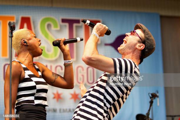 Singers Noelle Scaggs and Michael Fitzpatrick of Fitz The Tantrums performs on the Petrillo Music Shell during the 32nd Annual 'Taste Of Chicago' in...