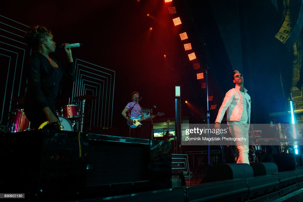 Singers Noelle Scaggs, bassist Joseph Karnes and singer Michael Fitzpatrick of Fitz and The Tantrums perform on stage during the '2017 Honda Civic Tour' at the Budweiser Stage on August 12, 2017 in Toronto, Canada.