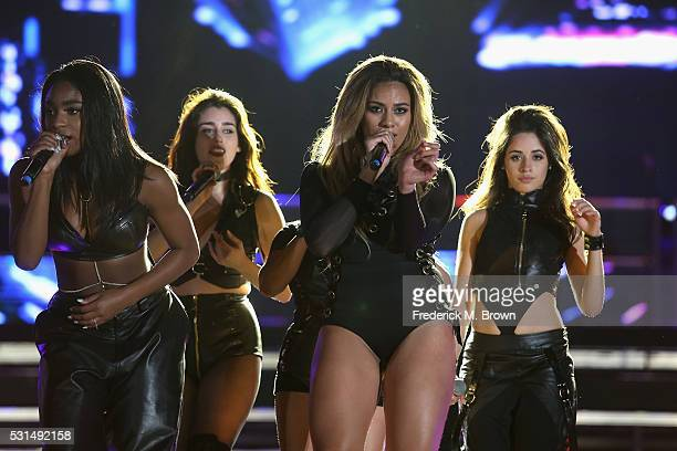 Singers Normani Hamilton Lauren Jauregui Ally Brooke DinahJane Hansen and Camila Cabello of Fifth Harmony perform on stage during 1027 KIIS FM's 2016...