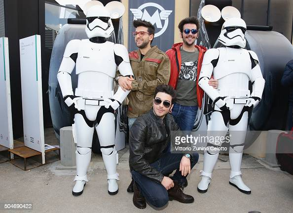 Singers of Italian opera pop Il Volo Piero Barone Gianluca Ginoble and Ignazio Boschetto pose with the Stormtroopers during 'Matchless London'...