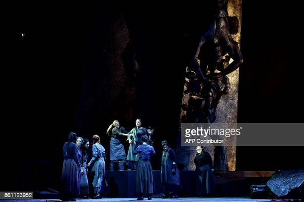Singers of the 'national lyric scene' perform on October 10 2017 in Athens during a rehearsal of Richard Strauss's Elektra conducted by Vassilis...