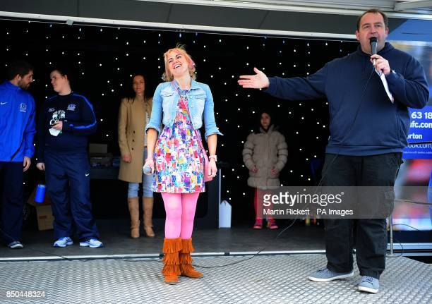 Singers on stage during the Everton roadshow at Goodison Park