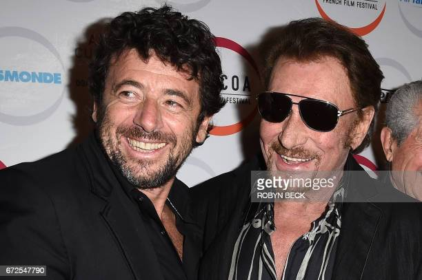 Singers Patrick Bruel and Johnny Hallyday attend the premiere of 'Everyone's Life' on the opening night of COLCOA French Film Festival April 24 2017...