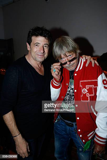 Singers Patrick Bruel and Renaud Sechan pose after the Concert of Patrick Bruel at Theatre Du Chatelet on June 6 2016 in Paris France