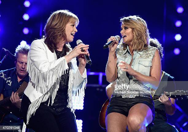 Singers Patty Loveless and Miranda Lambert perform onstage during ACM Presents Superstar Duets at Globe Life Park in Arlington on April 18 2015 in...