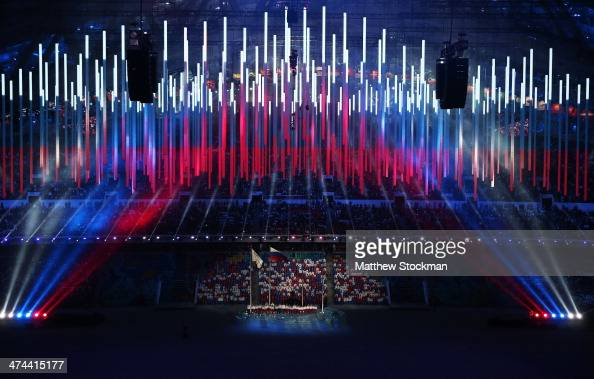 Singers perform the Russian national anthem during the 2014 Sochi Winter Olympics Closing Ceremony at Fisht Olympic Stadium on February 23 2014 in...