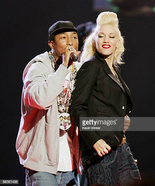 Singers Pharrell and Gwen Stefani perform onstage during the 2005 American Music Awards held at the Shrine Auditorium on November 22 2005 in Los...