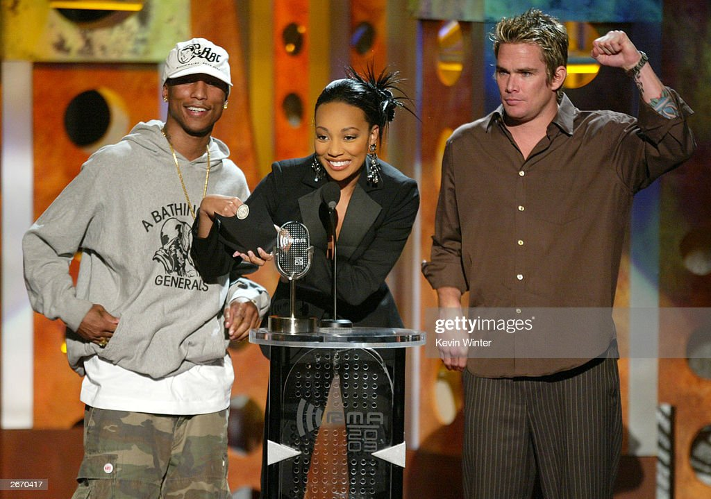 Singers (L-R) <a gi-track='captionPersonalityLinkClicked' href=/galleries/search?phrase=Pharrell+Williams&family=editorial&specificpeople=161396 ng-click='$event.stopPropagation()'>Pharrell Williams</a>, Monica, and Mark McGrath onstage at The 2003 Radio Music Awards at the Aladdin Casino Resort October 27, 2003 in Las Vegas, Neveda.