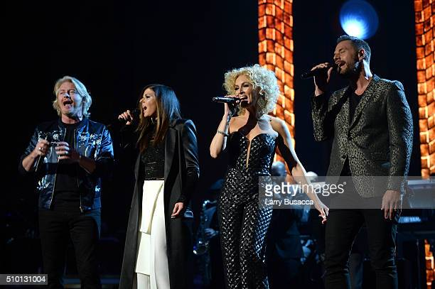 Singers Philip Sweet Karen Fairchild Kimberly Schlapman and Jimi Westbrook of Little Big Town perform onstage at the 2016 MusiCares Person of the...