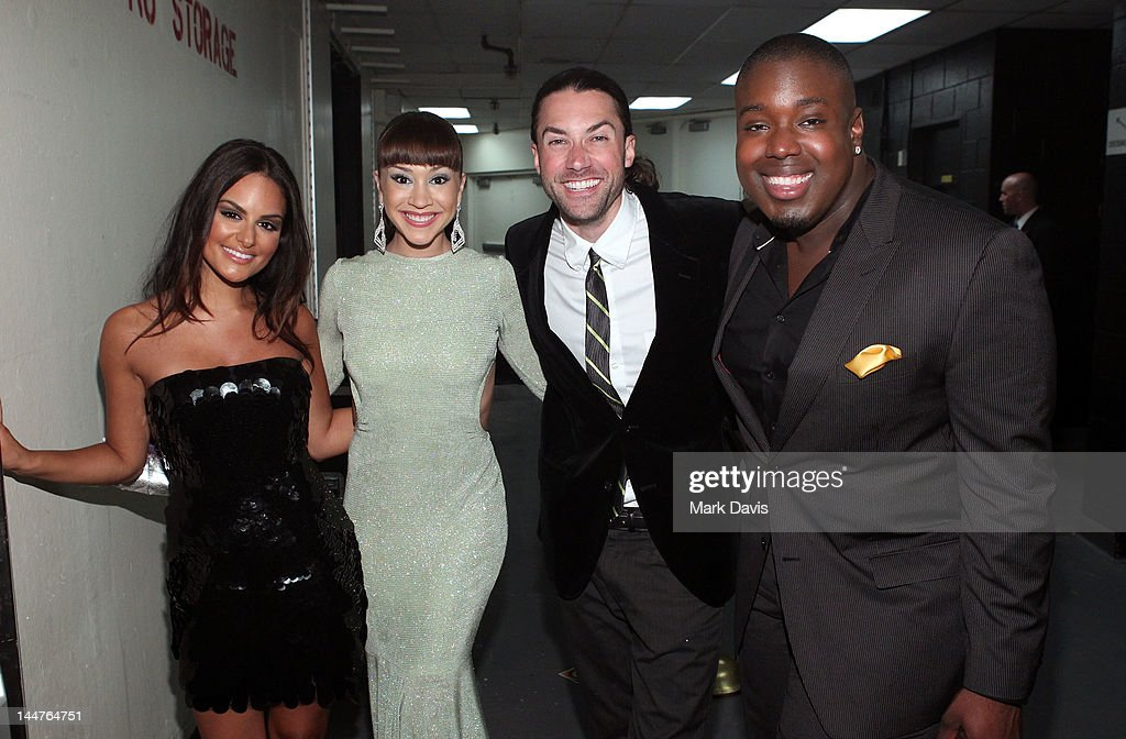 Singers Pia Toscano, Diana DeGarmo, Ace Young and Jacob Lusk pose backstage at the 19th Annual Race to Erase MS held at the Hyatt Regency Century Plaza on May 18, 2012 in Century City, California