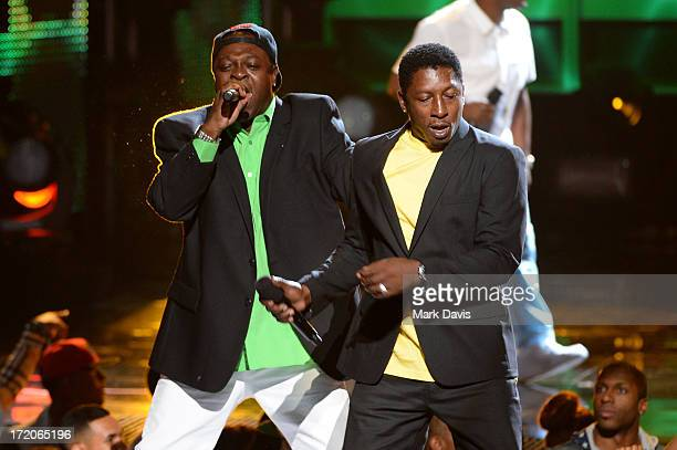 Singers Pliers and Chaka Demus perform onstage during the 2013 BET Awards at Nokia Theatre LA Live on June 30 2013 in Los Angeles California