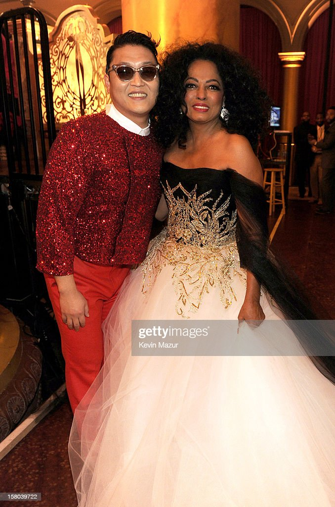 Singers Psy (L) and <a gi-track='captionPersonalityLinkClicked' href=/galleries/search?phrase=Diana+Ross&family=editorial&specificpeople=202836 ng-click='$event.stopPropagation()'>Diana Ross</a> attend TNT Christmas in Washington 2012 at National Building Museum on December 9, 2012 in Washington, DC. 23098_003_KM_1381.JPG