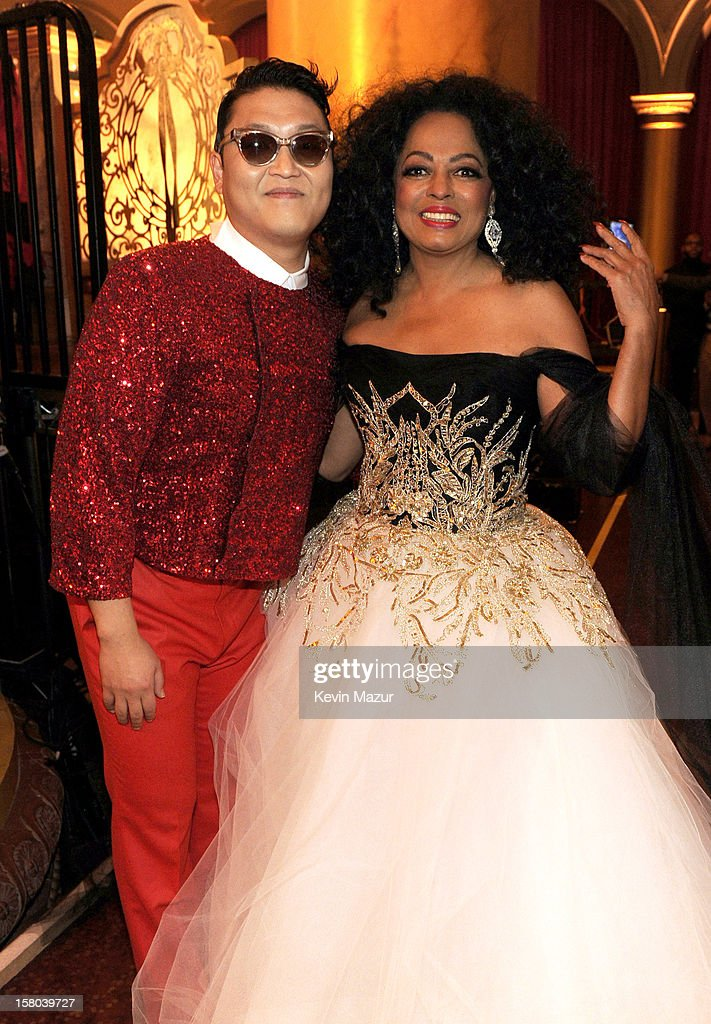Singers Psy (L) and <a gi-track='captionPersonalityLinkClicked' href=/galleries/search?phrase=Diana+Ross&family=editorial&specificpeople=202836 ng-click='$event.stopPropagation()'>Diana Ross</a> attend TNT Christmas in Washington 2012 at National Building Museum on December 9, 2012 in Washington, DC. 23098_003_KM_1383.JPG