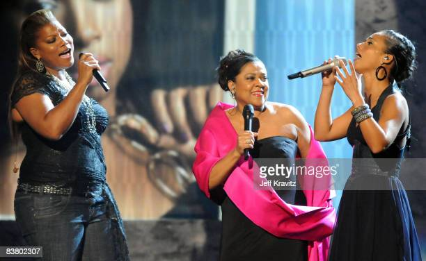 Singers Queen Latifah Kathleen Battle and Alicia Keys onstage during the 2008 American Music Awards held at Nokia Theatre LA LIVE on November 23 2008...