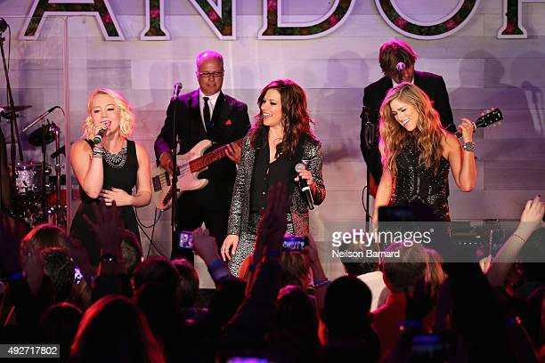 Singers RaeLynn Martina McBride and Cassadee Pope perform on stage during Pandora Presents Women In Country at The Altman Building on October 14 2015...