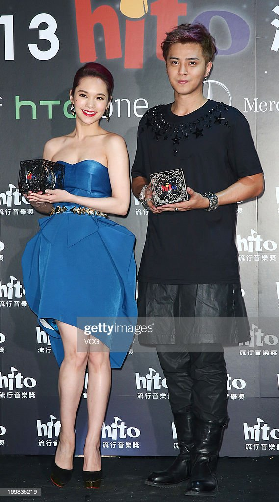 Singers <a gi-track='captionPersonalityLinkClicked' href=/galleries/search?phrase=Rainie+Yang&family=editorial&specificpeople=574307 ng-click='$event.stopPropagation()'>Rainie Yang</a> and Show Luo (R) attends 2013 Hito Music Awards at Taipei Arena on June 2, 2013 in Taipei, Taiwan.