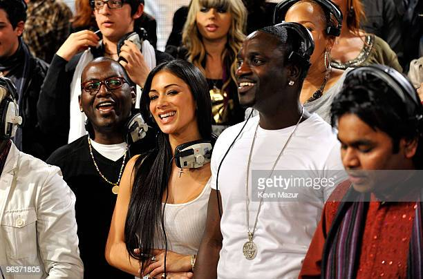 HOLLYWOOD FEBRUARY 01 Singers Randy Jackson Nicole Scherzinger Akon AR Rahman and others at the 'We Are The World 25 Years for Haiti' recording...