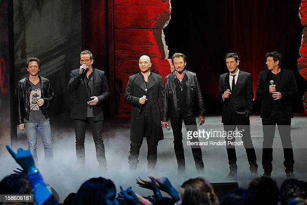 Singers Raphael Garou Pascal Obispo Johnny Hallyday Marc Lavoine and Patrick Bruel perform during 'La Chanson De L'Annee 2012' Show Recording at...