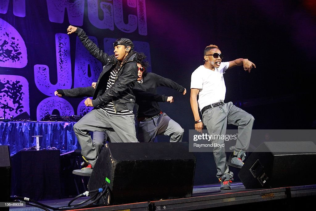 Singers Ray Ray Princeton and Prodigy of Mindless Behavior performs during the WGCIFM 'Big Jam' concert at the Allstate Arena in Rosemont Illinois on...