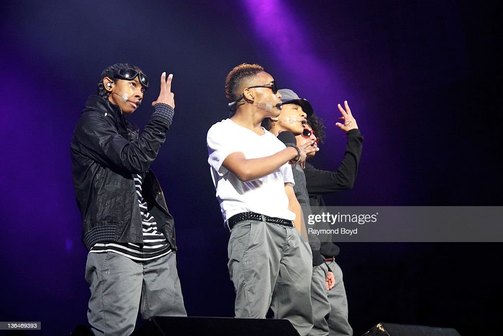 Singers Ray Ray Prodigy Roc Royal and Princeton of Mindless Behavior performs during the WGCIFM 'Big Jam' concert at the Allstate Arena in Rosemont...