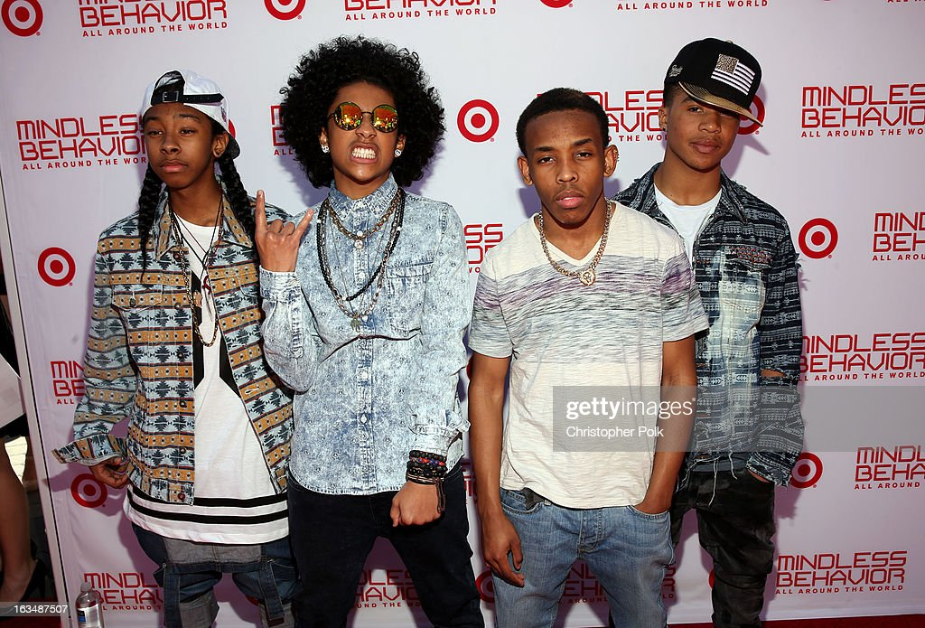 "Singers RayRay, Princeton, Prodigy and <a gi-track='captionPersonalityLinkClicked' href=/galleries/search?phrase=Roc+Royal&family=editorial&specificpeople=7301334 ng-click='$event.stopPropagation()'>Roc Royal</a> of Mindless Behavior at Universal CityWalk for the premiere of ""All Around The World"" & a performance presented by Target at Universal CityWalk on March 10, 2013 in Universal City, California."