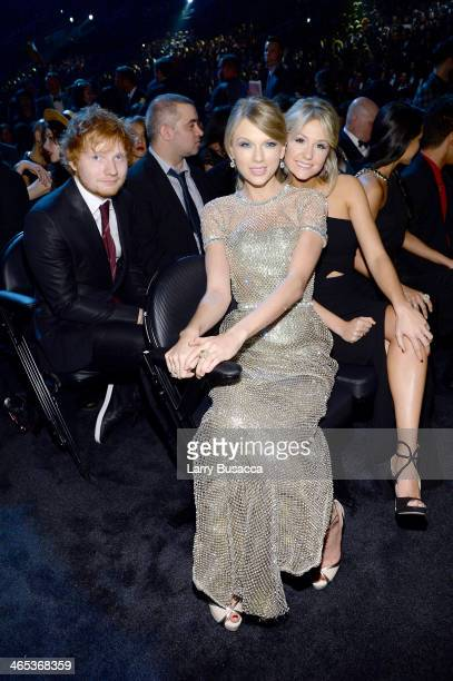 Singers Recording artist Ed Sheeran and Taylor Swift attend the 56th GRAMMY Awards at Staples Center on January 26 2014 in Los Angeles California