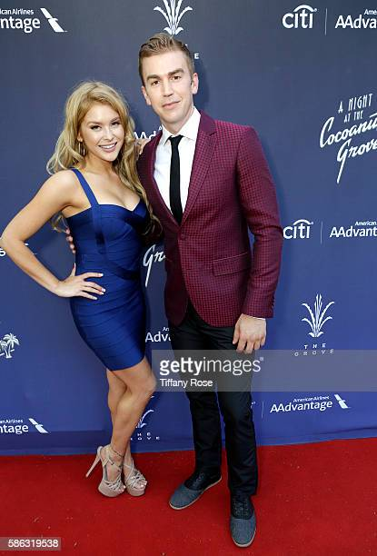 Singers Renee Olstead and Spencer Day attend A Night At The Cocoanut Grove at The Grove on August 5 2016 in Los Angeles California