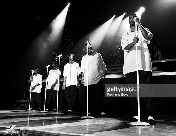 Singers Ricky Bell Johnny Gill Ronnie DeVoe Michael Bivins and Ralph Tresvant from New Edition performs at the UIC Pavilion in Chicago Illinois in...
