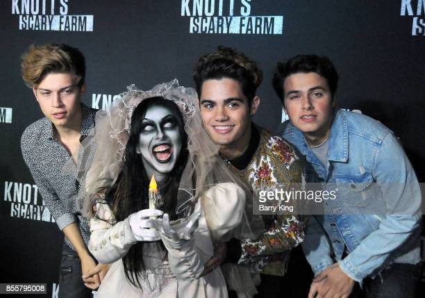 Singers Ricky Garcia Emery Kelly and Liam Attridge of Forever In Your Mind attend Knott's Scary Farm and Instagram's Celebrity Night at Knott's Berry...