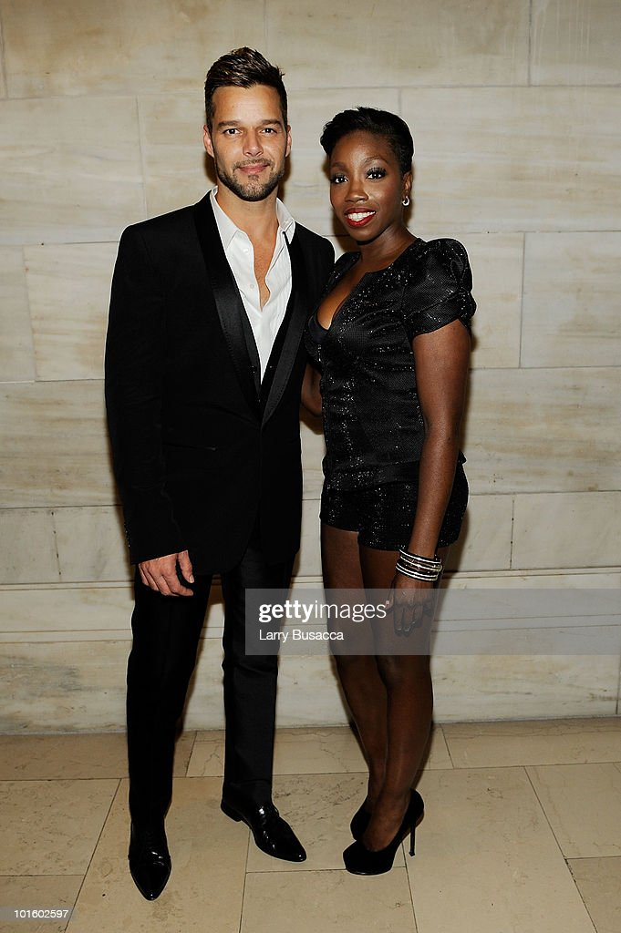 Singers Ricky Martin and Estelle attend the 2010 amfAR New York Inspiration Gala at The New York Public Library on June 3 2010 in New York New York